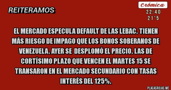 Placas Rojas - El Mercado especula default de las Lebac. Tienen más riesgo de impago que los bonos soberanos de Venezuela. Ayer se  desplomó el precio. Las de cortísimo plazo que vencen el Martes 15 se transaron en el mercado secundario con tasas interés del 125%.
