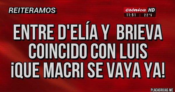 Placas Rojas - Entre D'elía y  Brieva coincido con Luis ¡Que Macri se vaya ya!