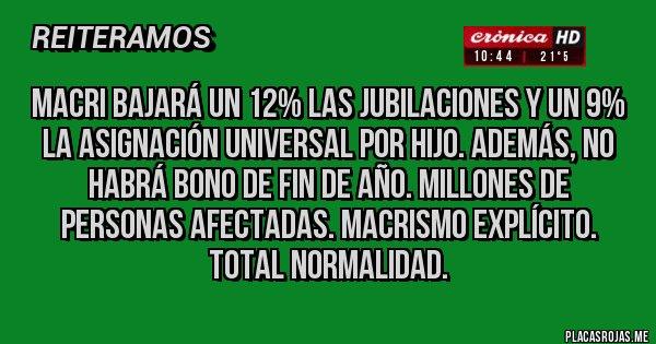 Placas Rojas - Macri bajará un 12% las jubilaciones y un 9% la Asignación Universal por Hijo. Además, no habrá Bono de Fin de Año. Millones de personas afectadas. Macrismo explícito. TOTAL NORMALIDAD.