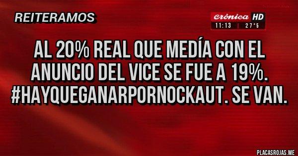 Placas Rojas - Al 20% real que medía con el anuncio del vice se fue a 19%. #HayQueGanarPorNockaut. Se van.