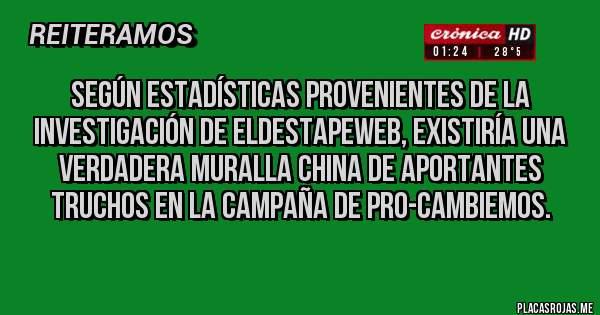 Placas Rojas - Según estadísticas provenientes de la investigación de ElDestapeWeb, existiría una Verdadera Muralla China de Aportantes truchos en la Campaña de PRO-Cambiemos.