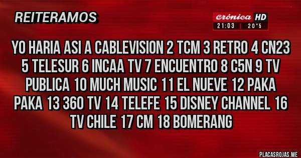 Placas Rojas - yo haria asi a cablevision 2 tcm 3 retro 4 cn23 5 telesur 6 incaa tv 7 encuentro 8 c5n 9 tv publica 10 much music 11 el nueve 12 paka paka 13 360 tv 14 telefe 15 disney channel 16 tv chile 17 cm 18 bomerang