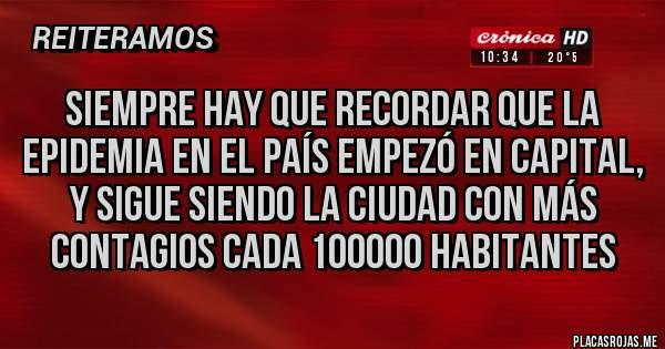 Placas Rojas - Siempre hay que recordar que la epidemia en el país empezó en capital, y sigue siendo la ciudad con más contagios cada 100000 habitantes