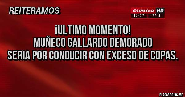 Placas Rojas - ¡ULTIMO MOMENTO! Muñeco Gallardo demorado Seria por conducir con exceso de Copas.