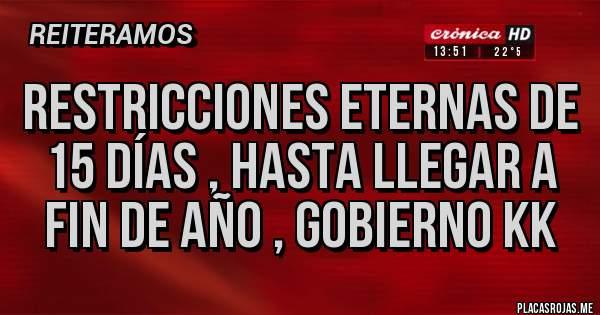 Placas Rojas - Restricciones eternas de 15 días , hasta llegar a fin de año , gobierno kk