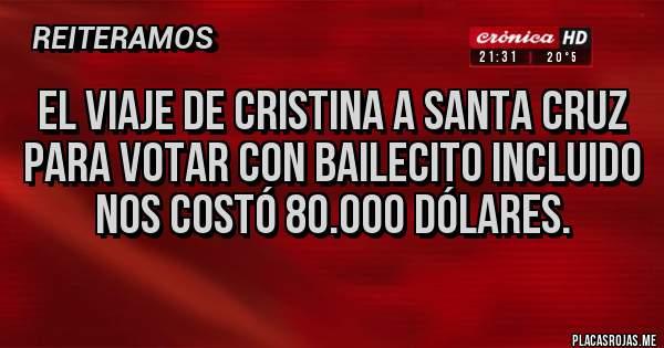 Placas Rojas - El viaje de Cristina a Santa Cruz para votar con bailecito incluido nos costó 80.000 dólares.