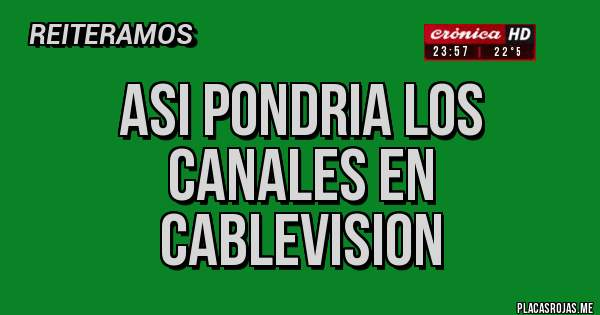 Placas Rojas - asi pondria los canales en cablevision