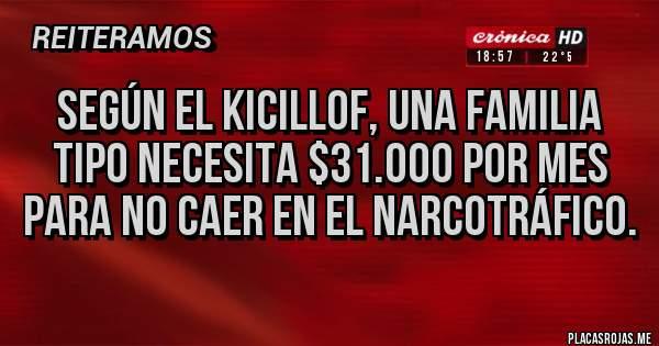 Placas Rojas - Según el kicillof, una familia tipo necesita $31.000 por mes para no caer en el narcotráfico.